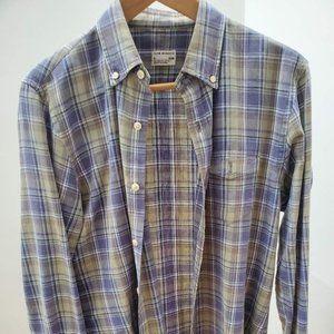 Club Monaco Men's Olive Checkered Shirt (Size S)